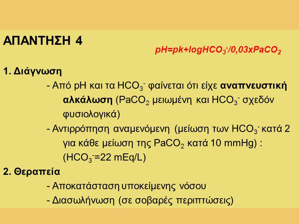 ΑΠΑΝΤΗΣΗ 4 1. Διάγνωση - Από pH και τα HCO 3 - φαίνεται ότι είχε αναπνευστική αλκάλωση (PaCO 2 μειωμένη και HCO 3 - σχεδόν φυσιολογικά) - Αντιρρόπηση