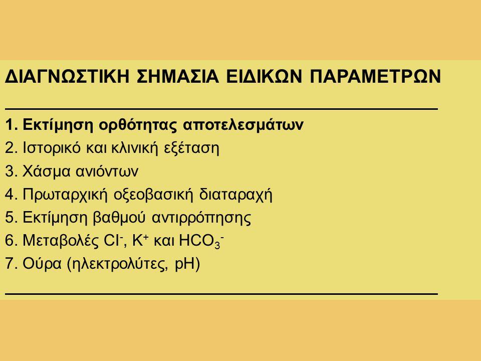 ΔΙΑΓΝΩΣΤΙΚΗ ΣΗΜΑΣΙΑ ΕΙΔΙΚΩΝ ΠΑΡΑΜΕΤΡΩΝ 1. Εκτίμηση ορθότητας αποτελεσμάτων 2. Ιστορικό και κλινική εξέταση 3. Χάσμα ανιόντων 4. Πρωταρχική οξεοβασική