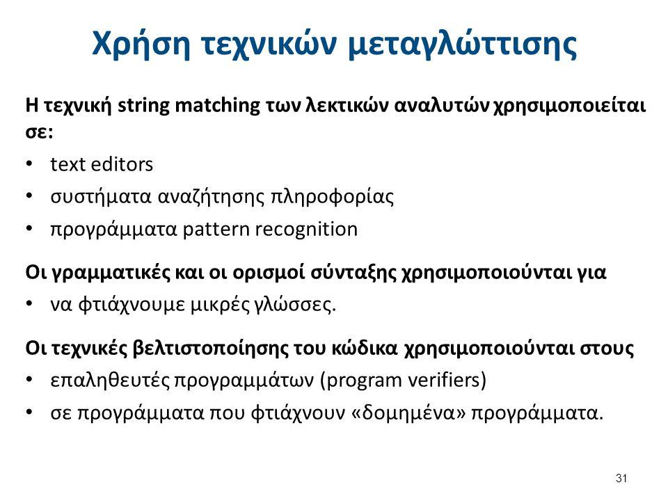 Χρήση τεχνικών μεταγλώττισης Η τεχνική string matching των λεκτικών αναλυτών χρησιμοποιείται σε: text editors συστήματα αναζήτησης πληροφορίας προγράμ