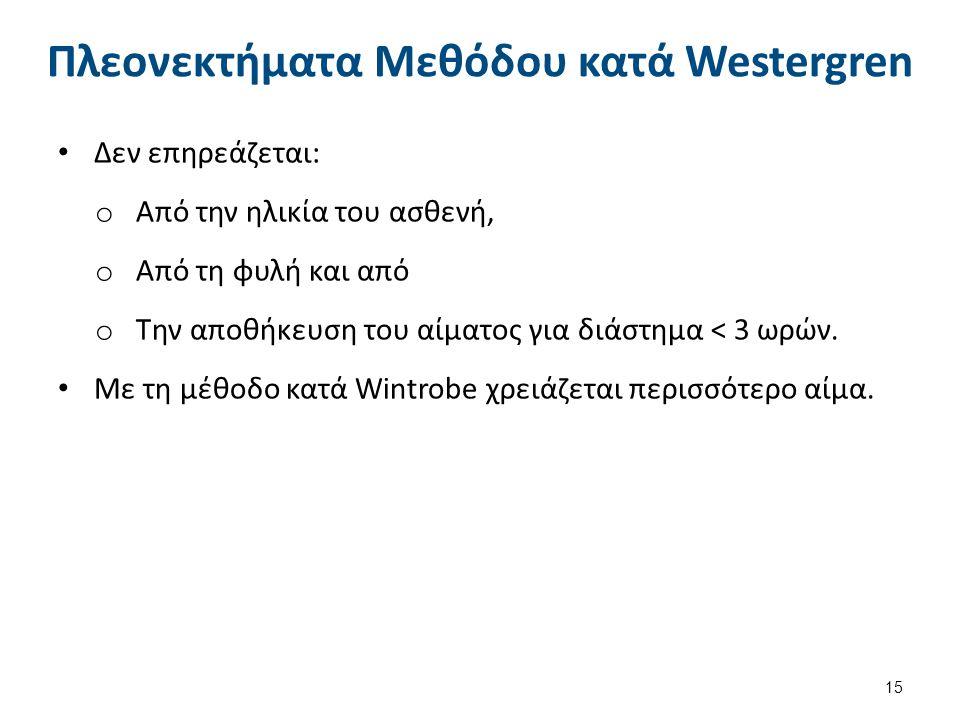 Πλεονεκτήματα Μεθόδου κατά Westergren Δεν επηρεάζεται: o Από την ηλικία του ασθενή, o Από τη φυλή και από o Την αποθήκευση του αίματος για διάστημα <