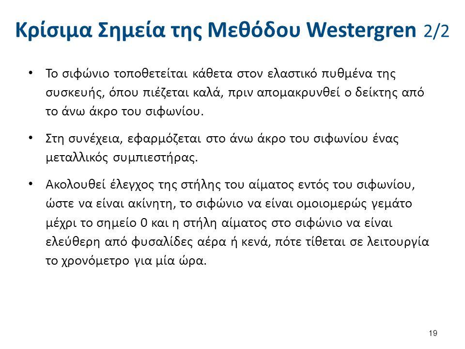 Κρίσιμα Σημεία της Μεθόδου Westergren 2/2 19 Το σιφώνιο τοποθετείται κάθετα στον ελαστικό πυθμένα της συσκευής, όπου πιέζεται καλά, πριν απομακρυνθεί
