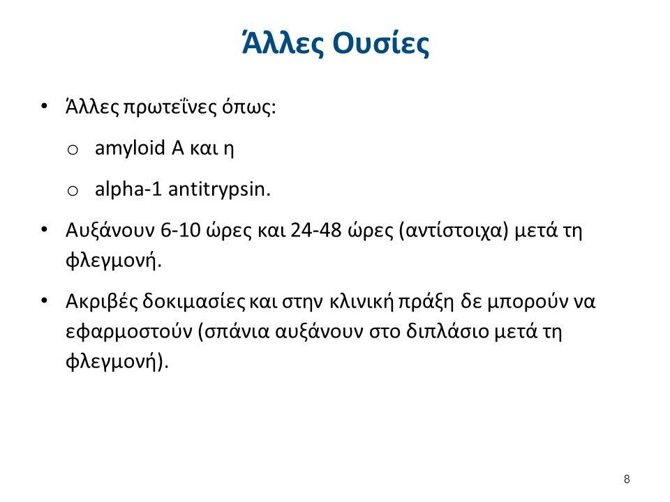 Άλλες Ουσίες Άλλες πρωτεΐνες όπως: o amyloid A και η o alpha-1 antitrypsin. Αυξάνουν 6-10 ώρες και 24-48 ώρες (αντίστοιχα) μετά τη φλεγμονή. Ακριβές δ