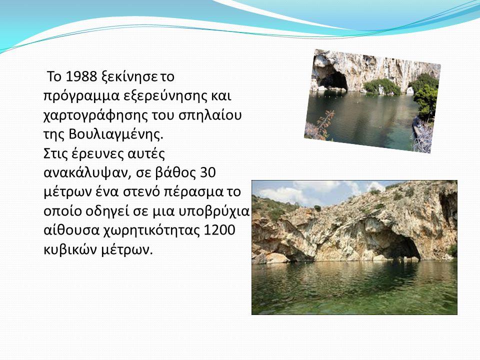 Το 1988 ξεκίνησε το πρόγραμμα εξερεύνησης και χαρτογράφησης του σπηλαίου της Βουλιαγμένης. Στις έρευνες αυτές ανακάλυψαν, σε βάθος 30 μέτρων ένα στενό
