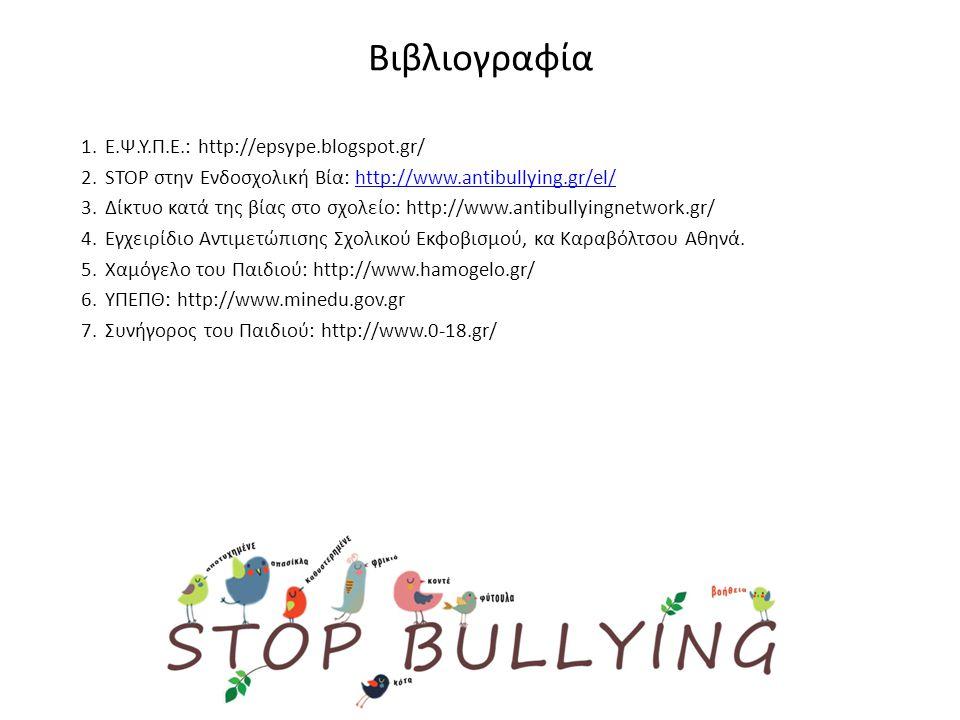 Βιβλιογραφία 1.Ε.Ψ.Υ.Π.Ε.: http://epsype.blogspot.gr/ 2.STOP στην Ενδοσχολική Βία: http://www.antibullying.gr/el/http://www.antibullying.gr/el/ 3.Δίκτυο κατά της βίας στο σχολείο: http://www.antibullyingnetwork.gr/ 4.Εγχειρίδιο Αντιμετώπισης Σχολικού Εκφοβισμού, κα Καραβόλτσου Αθηνά.