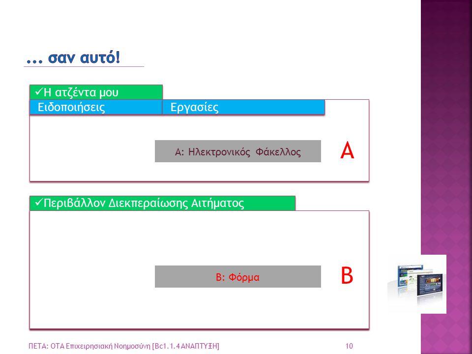 10 ΠΕΤΑ: ΟΤΑ Επιχειρησιακή Νοημοσύνη [Bc1.1.4 ΑΝΑΠΤΥΞΗ] Η ατζέντα μου Περιβάλλον Διεκπεραίωσης Αιτήματος Ειδοποιήσεις Εργασίες A B Α: Ηλεκτρονικός Φάκελλος Β: Φόρμα B