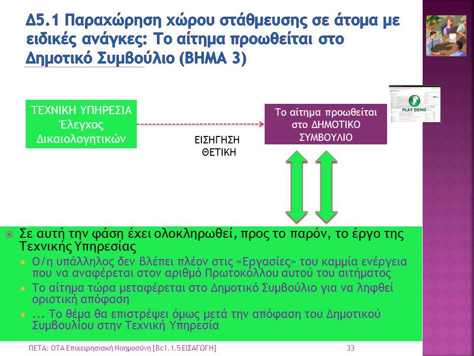 33 ΠΕΤΑ: ΟΤΑ Επιχειρησιακή Νοημοσύνη [Bc1.1.5 ΕΙΣΑΓΩΓΗ] ΤΕΧΝΙΚΗ ΥΠΗΡΕΣΙΑ Έλεγχος Δικαιολογητικών ΕΙΣΗΓΗΣΗ ΘΕΤΙΚΗ Το αίτημα προωθείται στο ΔΗΜΟΤΙΚΟ ΣΥΜΒΟΥΛΙΟ  Σε αυτή την φάση έχει ολοκληρωθεί, προς το παρόν, το έργο της Τεχνικής Υπηρεσίας  Ο/η υπάλληλος δεν βλέπει πλέον στις «Εργασίες» του καμμία ενέργεια που να αναφέρεται στον αριθμό Πρωτοκόλλου αυτού του αιτήματος  Το αίτημα τώρα μεταφέρεται στο Δημοτικό Συμβούλιο για να ληφθεί οριστική απόφαση ...