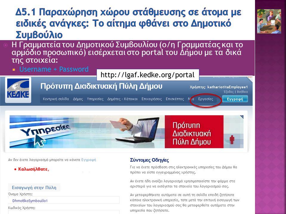 36 ΠΕΤΑ: ΟΤΑ Επιχειρησιακή Νοημοσύνη [Bc1.1.5 ΕΙΣΑΓΩΓΗ]  Η Γραμματεία του Δημοτικού Συμβουλίου (ο/η Γραμματέας και το αρμόδιο προσωπικό) εισέρχεται στο portal του Δήμου με τα δικά της στοιχεία:  Username + Password http://lgaf.kedke.org/portal DhmotikoSymboulio1