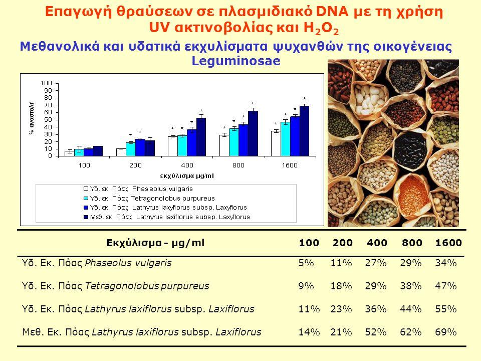 Επαγωγή θραύσεων σε πλασμιδιακό DNA με τη χρήση UV ακτινοβολίας και Η 2 Ο 2 Μεθανολικά και υδατικά εκχυλίσματα ψυχανθών της οικογένειας Leguminosae Εκχύλισμα - μg/ml1002004008001600 Υδ.