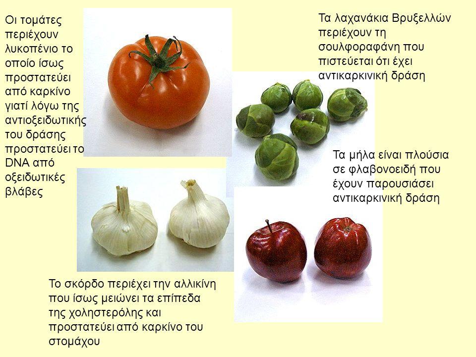 Οι τομάτες περιέχουν λυκοπένιο το οποίο ίσως προστατεύει από καρκίνο γιατί λόγω της αντιοξειδωτικής του δράσης προστατεύει το DNA από οξειδωτικές βλάβες Τα λαχανάκια Βρυξελλών περιέχουν τη σουλφοραφάνη που πιστεύεται ότι έχει αντικαρκινική δράση Τα μήλα είναι πλούσια σε φλαβονοειδή που έχουν παρουσιάσει αντικαρκινική δράση Το σκόρδο περιέχει την αλλικίνη που ίσως μειώνει τα επίπεδα της χοληστερόλης και προστατεύει από καρκίνο του στομάχου