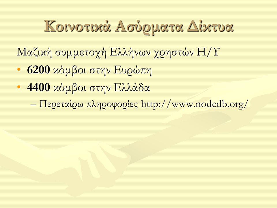 Κοινοτικά Ασύρματα Δίκτυα Μαζική συμμετοχή Ελλήνων χρηστών Η/Υ 6200 κόμβοι στην Ευρώπη6200 κόμβοι στην Ευρώπη 4400 κόμβοι στην Ελλάδα4400 κόμβοι στην