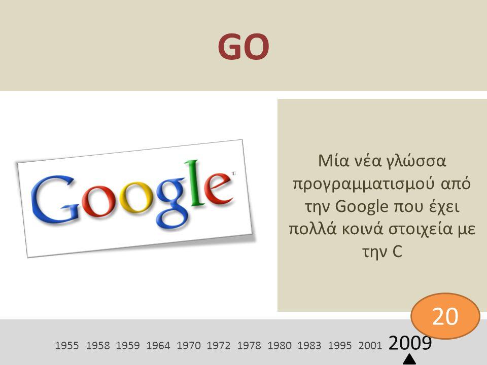 GO Μία νέα γλώσσα προγραμματισμού από την Google που έχει πολλά κοινά στοιχεία με την C 1955 1958 1959 1964 1970 1972 1978 1980 1983 1995 2001 2009 20