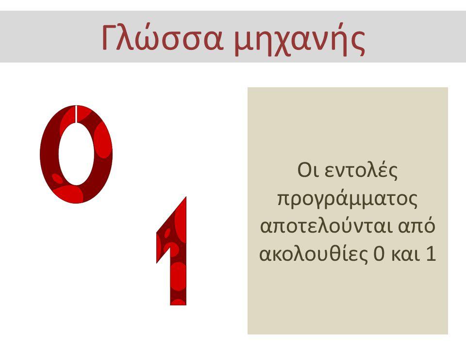 Οι εντολές αποτελούνται από συμβολικά ονόματα που αντιστοιχούν σε εντολές της γλώσσας μηχανής Συμβολική Γλώσσα MOV AX,1234H PUSH AX MOV AH,09 INT 21H POP AX