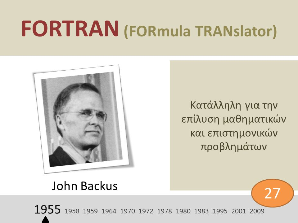 FORTRAN (FORmula TRANslator) John Backus Κατάλληλη για την επίλυση μαθηματικών και επιστημονικών προβλημάτων 1955 1958 1959 1964 1970 1972 1978 1980 1