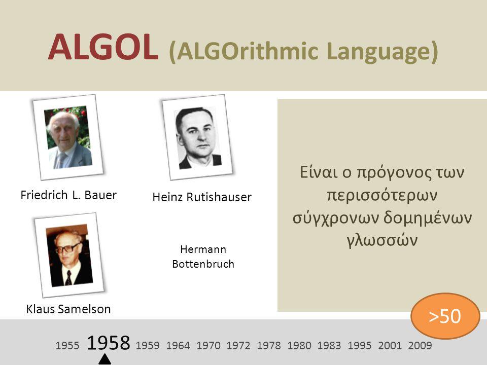 ALGOL (ALGOrithmic Language) Friedrich L. Bauer Είναι ο πρόγονος των περισσότερων σύγχρονων δομημένων γλωσσών 1955 1958 1959 1964 1970 1972 1978 1980