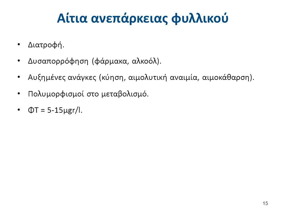 Κλινικοεργαστηριακά ευρήματα Γενικά χαρακτηριστικά αναιμίας (κόπωση, κακουχία, ανορεξία, κτλ).