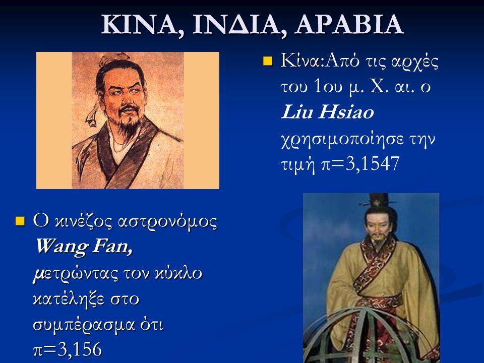 ΚΙΝΑ, ΙΝΔΙΑ, ΑΡΑΒΙΑ Κίνα:Από τις αρχές του 1ου μ. Χ. αι. ο Liu Hsiao χρησιμοποίησε την τιμή π=3,1547 Ο κινέζος αστρονόμος Wang Fan, μετρώντας τον κύκλ