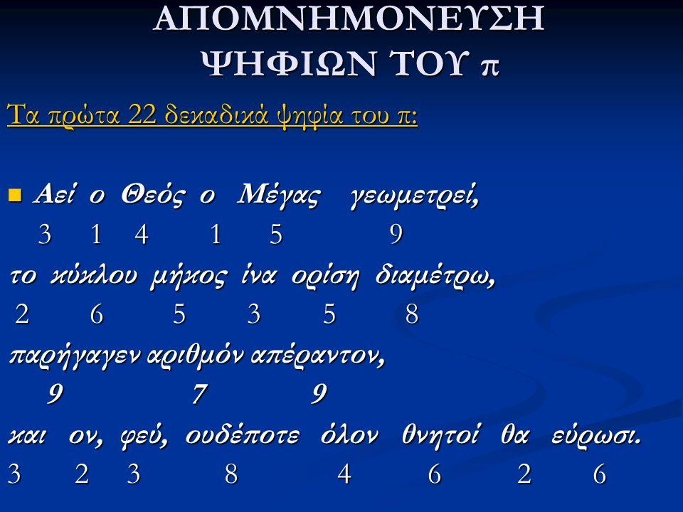 ΑΠΟΜΝΗΜΟΝΕΥΣΗ ΨΗΦΙΩΝ ΤΟΥ π Τα πρώτα 22 δεκαδικά ψηφία του π: Αεί ο Θεός ο Μέγας γεωμετρεί, Αεί ο Θεός ο Μέγας γεωμετρεί, 3 1 4 1 5 9 3 1 4 1 5 9 το κύ
