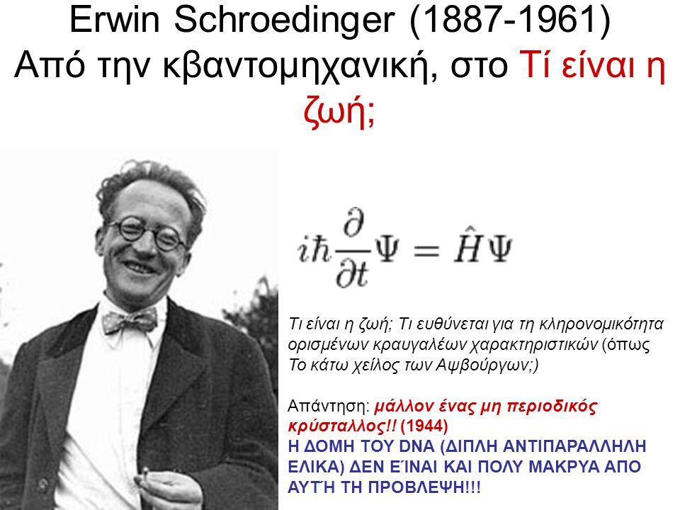 Erwin Schroedinger (1887-1961) Από την κβαντομηχανική, στο Τί είναι η ζωή; Τι είναι η ζωή; Τι ευθύνεται για τη κληρονομικότητα ορισμένων κραυγαλέων χαρακτηριστικών (όπως Το κάτω χείλος των Αψβούργων;) Απάντηση: μάλλον ένας μη περιοδικός κρύσταλλος!.