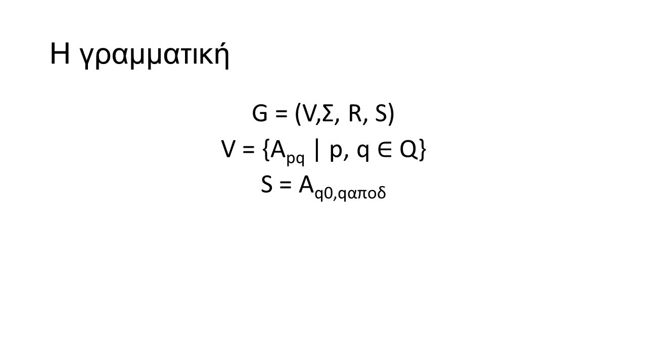 Η γραμματική G = (V,Σ, R, S) V = {A pq | p, q ∈ Q} S = A q0,qαποδ