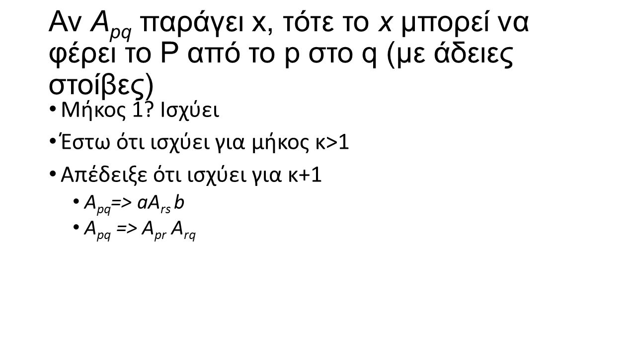 Αν A pq παράγει x, τότε το x μπορεί να φέρει το P από το p στο q (με άδειες στοίβες) Μήκος 1? Ισχύει Έστω ότι ισχύει για μήκος κ>1 Απέδειξε ότι ισχύει