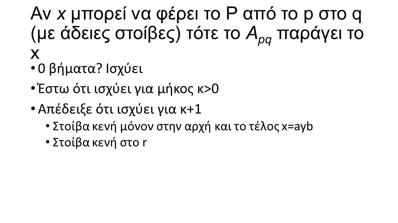 Αν x μπορεί να φέρει το P από το p στο q (με άδειες στοίβες) τότε το A pq παράγει το x 0 βήματα? Ισχύει Έστω ότι ισχύει για μήκος κ>0 Απέδειξε ότι ισχ