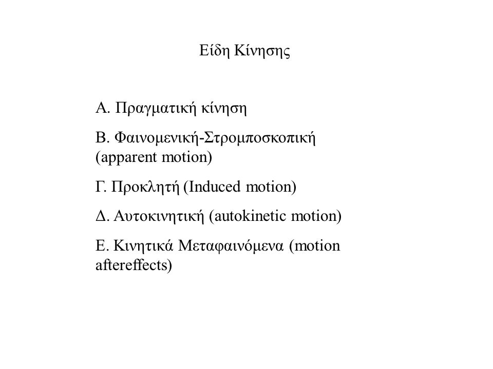 Είδη Κίνησης Α. Πραγματική κίνηση Β. Φαινομενική-Στρομποσκοπική (apparent motion) Γ. Προκλητή (Induced motion) Δ. Αυτοκινητική (autokinetic motion) Ε.