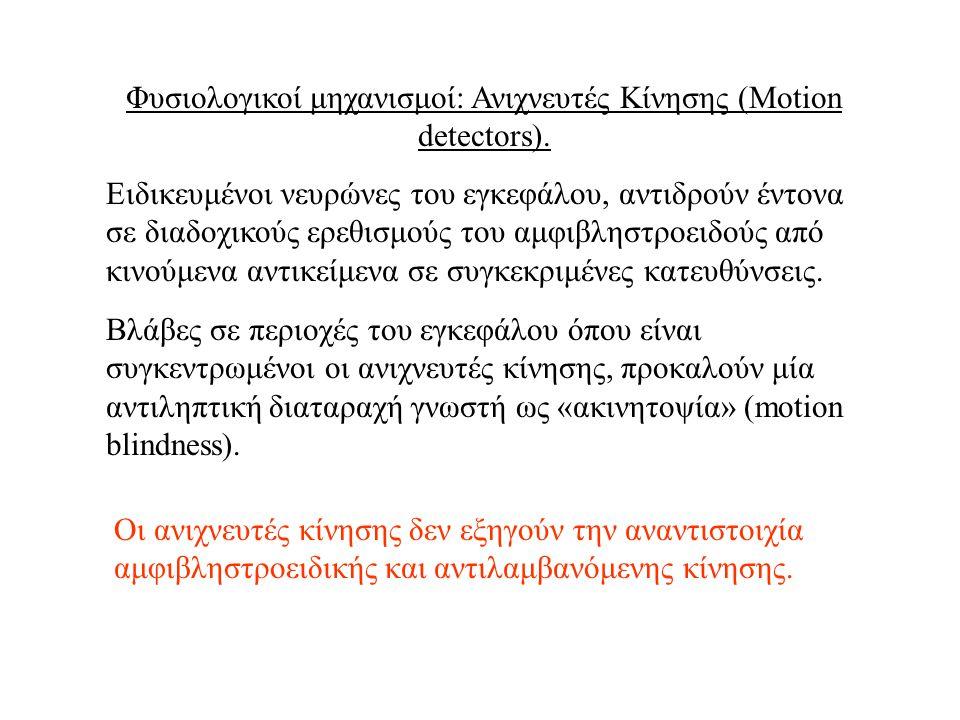 Φυσιολογικοί μηχανισμοί: Ανιχνευτές Κίνησης (Motion detectors). Ειδικευμένοι νευρώνες του εγκεφάλου, αντιδρούν έντονα σε διαδοχικούς ερεθισμούς του αμ