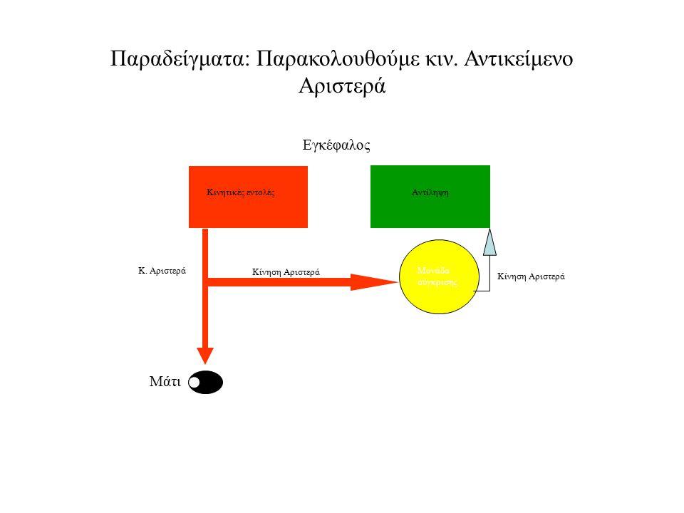 Παραδείγματα: Παρακολουθούμε κιν. Αντικείμενο Αριστερά Κ. Αριστερά Μονάδα σύγκρισης Κίνηση Αριστερά Κινητικές εντολέςΑντίληψη Εγκέφαλος Κίνηση Αριστερ