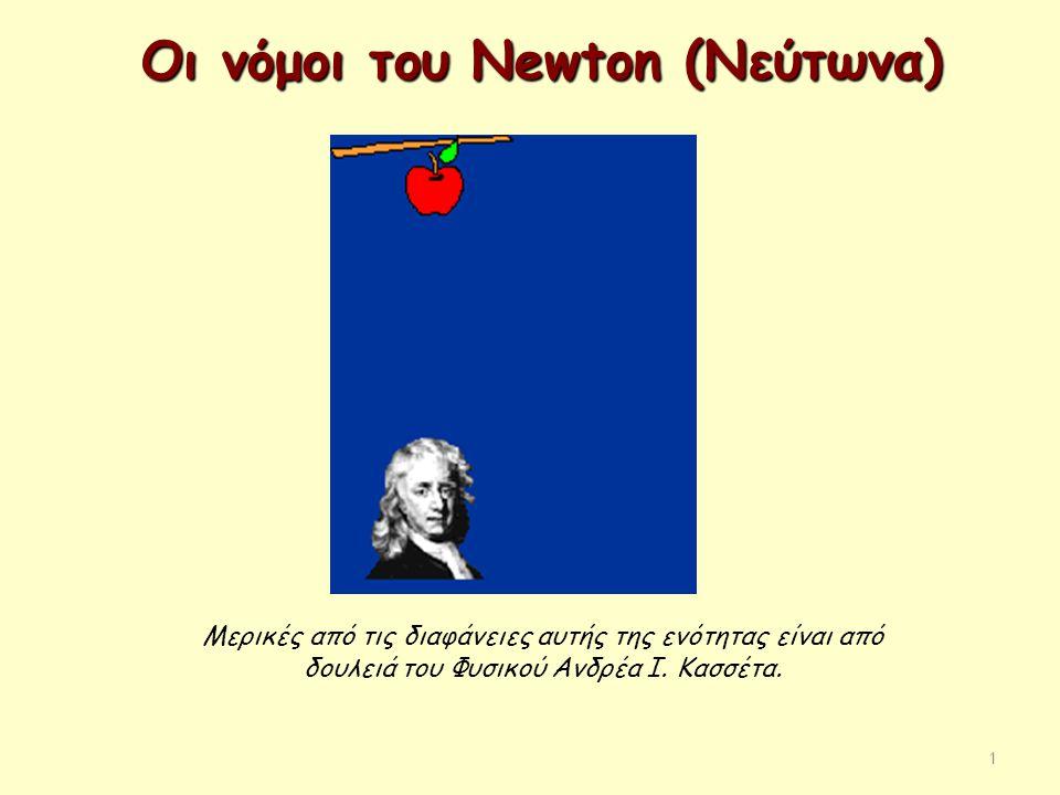 1 Οι νόμοι του Newton (Νεύτωνα) Μερικές από τις διαφάνειες αυτής της ενότητας είναι από δουλειά του Φυσικού Ανδρέα Ι. Κασσέτα.