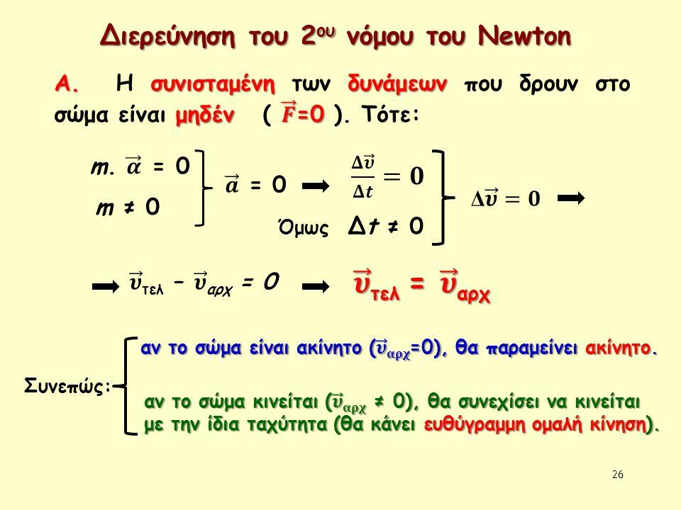 26 Διερεύνηση του 2 ου νόμου του Newton m ≠ 0 Όμως Δt ≠ 0 Συνεπώς: