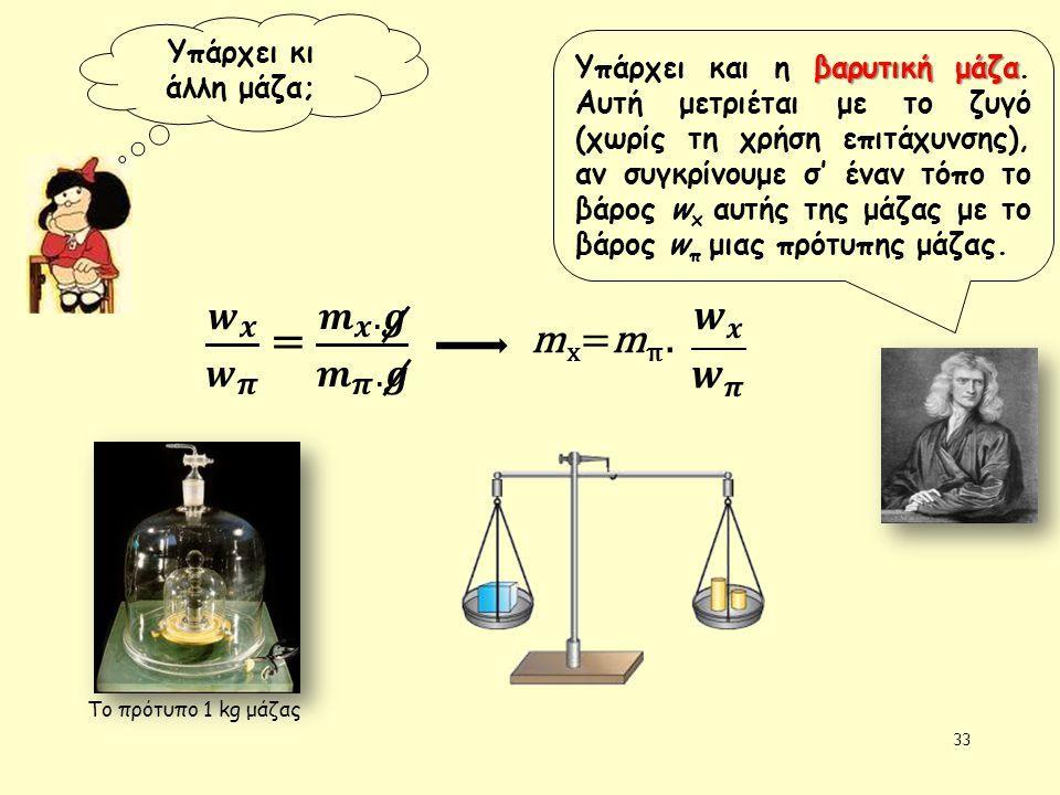 33 Υπάρχει κι άλλη μάζα; βαρυτική μάζα Υπάρχει και η βαρυτική μάζα. Αυτή μετριέται με το ζυγό (χωρίς τη χρήση επιτάχυνσης), αν συγκρίνουμε σ' έναν τόπ