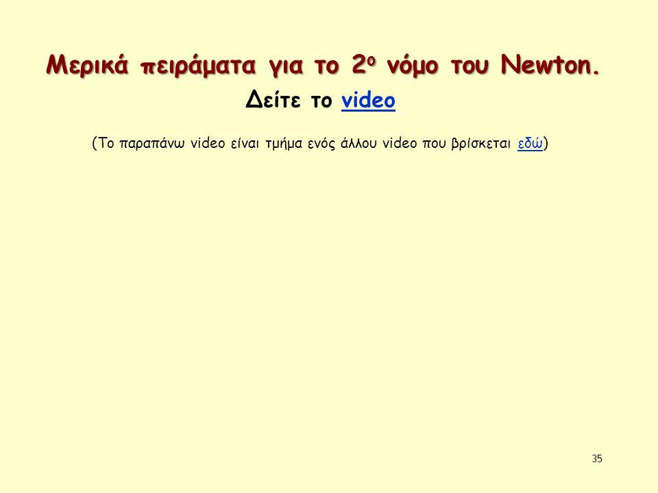 35 Μερικά πειράματα για το 2 ο νόμο του Newton. Δείτε το videovideo (Το παραπάνω video είναι τμήμα ενός άλλου video που βρίσκεται εδώ)εδώ