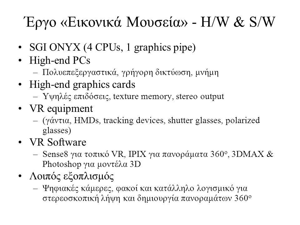 Έργο «Εικονικά Μουσεία» - H/W & S/W SGI ONYX (4 CPUs, 1 graphics pipe) High-end PCs –Πολυεπεξεργαστικά, γρήγορη δικτύωση, μνήμη High-end graphics cards –Υψηλές επιδόσεις, texture memory, stereo output VR equipment –(γάντια, HMDs, tracking devices, shutter glasses, polarized glasses) VR Software –Sense8 για τοπικό VR, IPIX για πανοράματα 360 o, 3DMAX & Photoshop για μοντέλα 3D Λοιπός εξοπλισμός –Ψηφιακές κάμερες, φακοί και κατάλληλο λογισμικό για στερεοσκοπική λήψη και δημιουργία πανοραμάτων 360 o