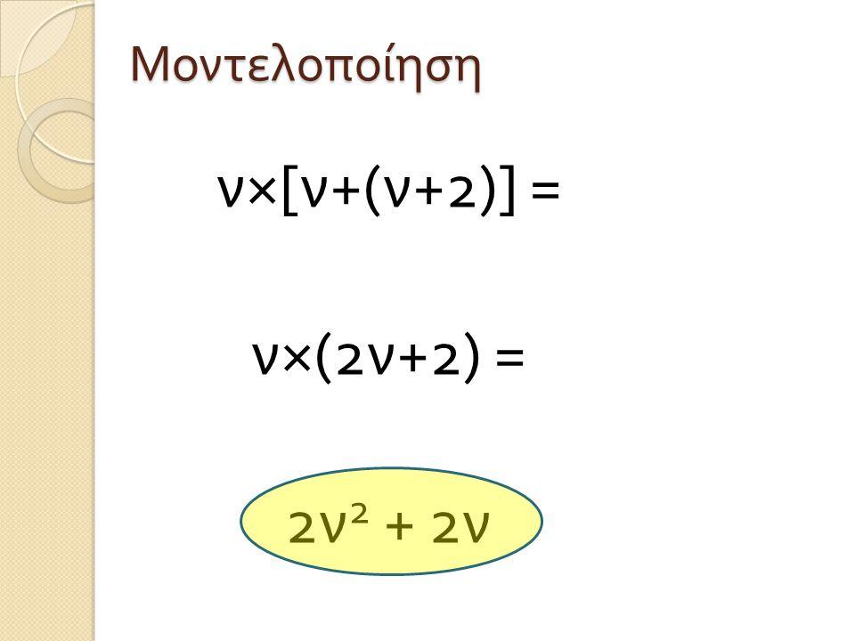 ν×[ν+(ν+2)] = ν×(2ν+2) = 2ν 2 + 2ν Μοντελοποίηση