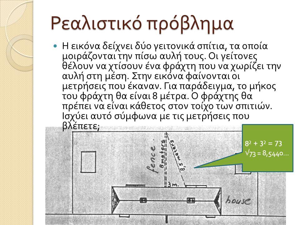 Ρεαλιστικό πρόβλημα Η εικόνα δείχνει δύο γειτονικά σπίτια, τα οποία μοιράζονται την πίσω αυλή τους. Οι γείτονες θέλουν να χτίσουν ένα φράχτη που να χω