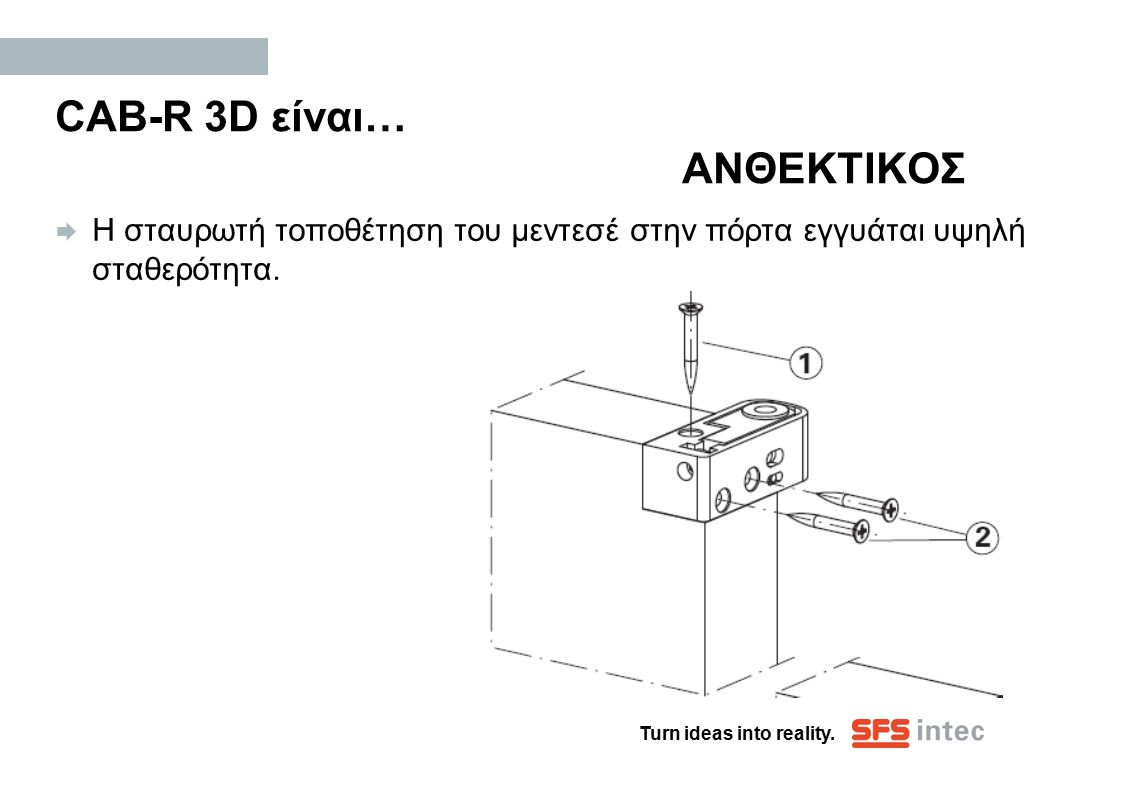 Turn ideas into reality. CAB-R 3D είναι… ΑΝΘΕΚΤΙΚΟΣ  Η σταυρωτή τοποθέτηση του μεντεσέ στην πόρτα εγγυάται υψηλή σταθερότητα.