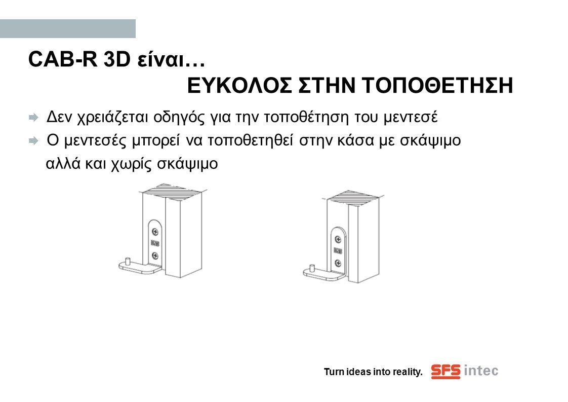 Turn ideas into reality. CAB-R 3D είναι… ΕΥΚΟΛΟΣ ΣΤΗΝ ΤΟΠΟΘΕΤΗΣΗ  Δεν χρειάζεται οδηγός για την τοποθέτηση του μεντεσέ  Ο μεντεσές μπορεί να τοποθετ