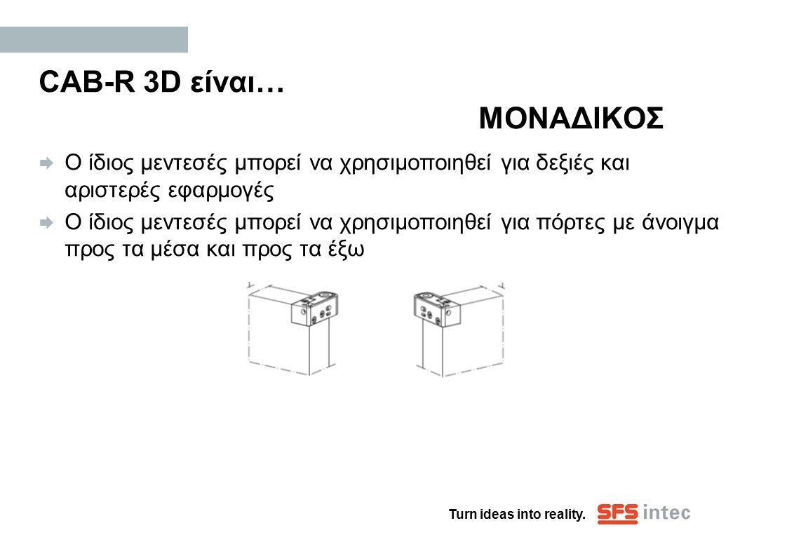 Turn ideas into reality. CAB-R 3D είναι… ΜΟΝΑΔΙΚΟΣ  Ο ίδιος μεντεσές μπορεί να χρησιμοποιηθεί για δεξιές και αριστερές εφαρμογές  Ο ίδιος μεντεσές μ
