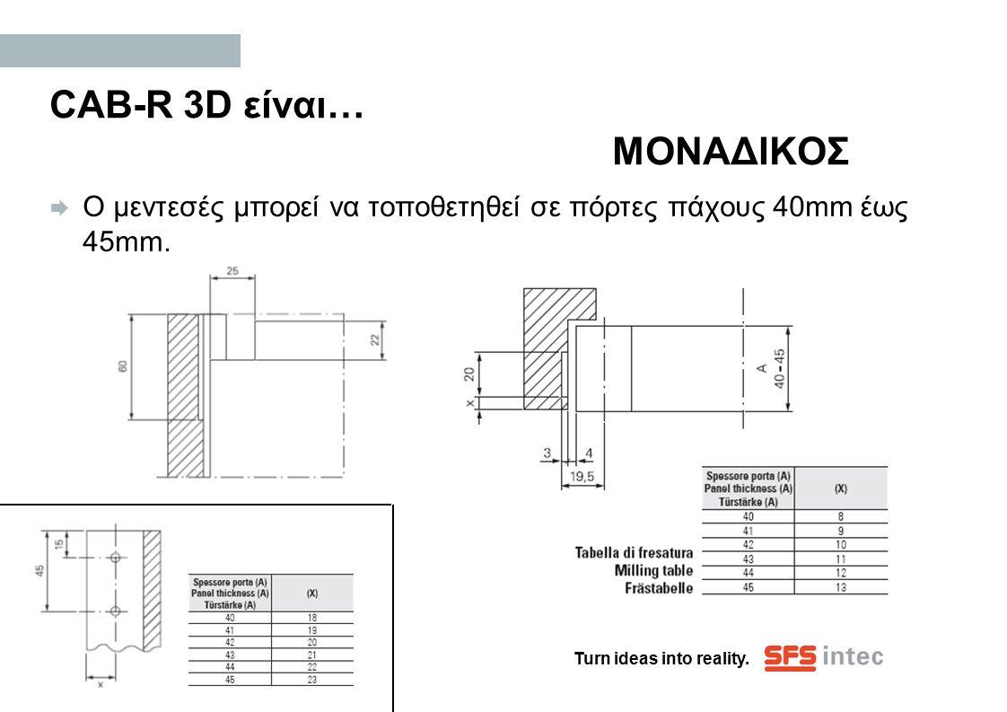 Turn ideas into reality. CAB-R 3D είναι… ΜΟΝΑΔΙΚΟΣ  Ο μεντεσές μπορεί να τοποθετηθεί σε πόρτες πάχους 40mm έως 45mm.