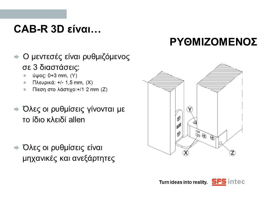 Turn ideas into reality. CAB-R 3D είναι… ΡΥΘΜΙΖΟΜΕΝΟΣ  Ο μεντεσές είναι ρυθμιζόμενος σε 3 διαστάσεις:  ύψος: 0+3 mm, (Y)  Πλευρικά: +/- 1,5 mm, (X)