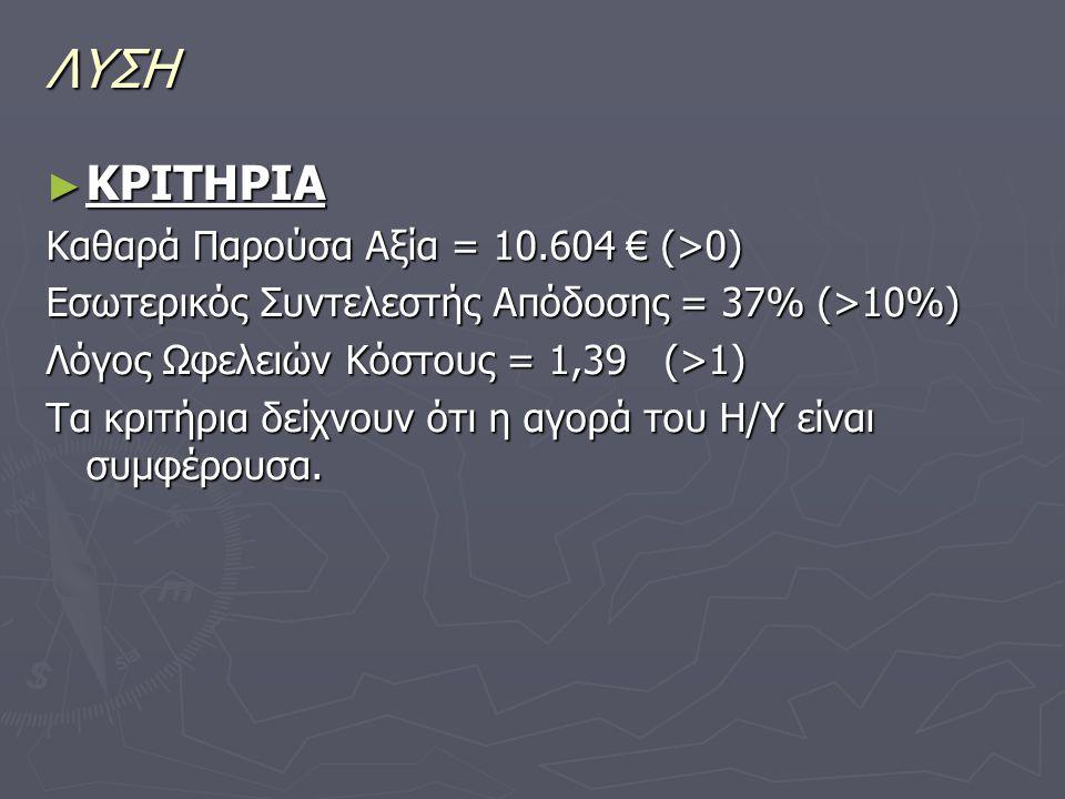 ΛΥΣΗ ► ΚΡΙΤΗΡΙΑ Καθαρά Παρούσα Αξία = 10.604 € (>0) Εσωτερικός Συντελεστής Απόδοσης = 37% (>10%) Λόγος Ωφελειών Κόστους = 1,39 (>1) Τα κριτήρια δείχνο