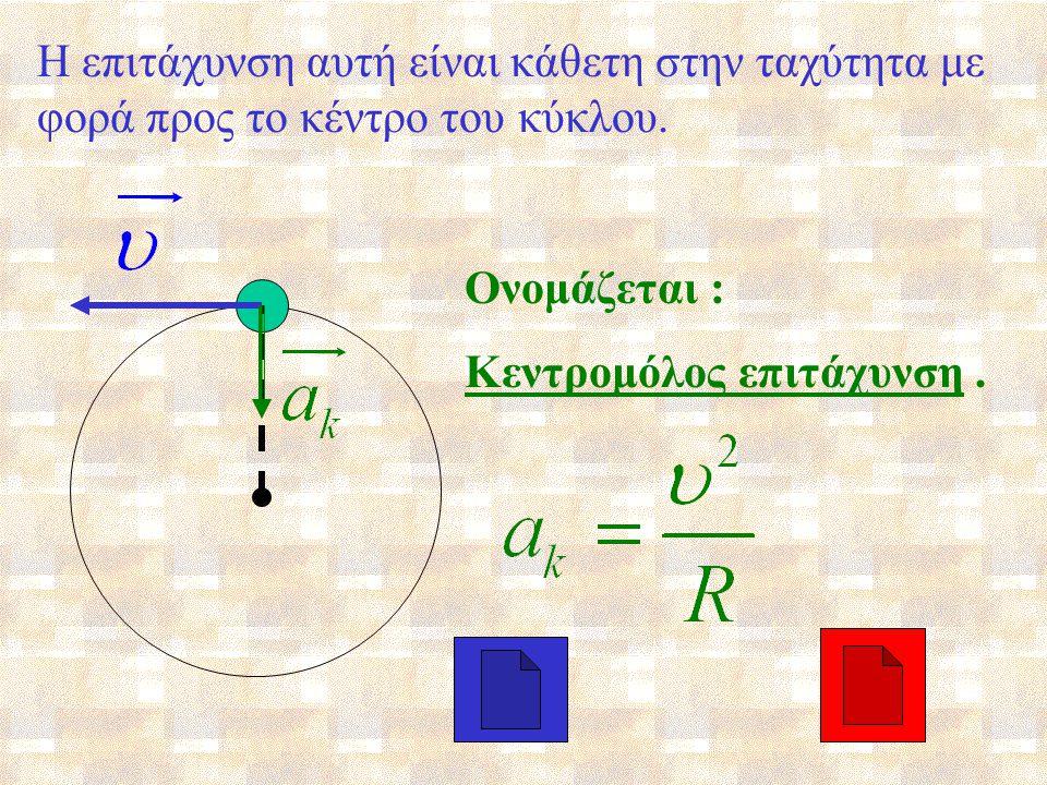 Στην ομαλή κυκλική κίνηση μεταβάλλεται η ταχύτητα ; Μεταβολή της ταχύτητας συνεπάγεται επιτάχυνση.
