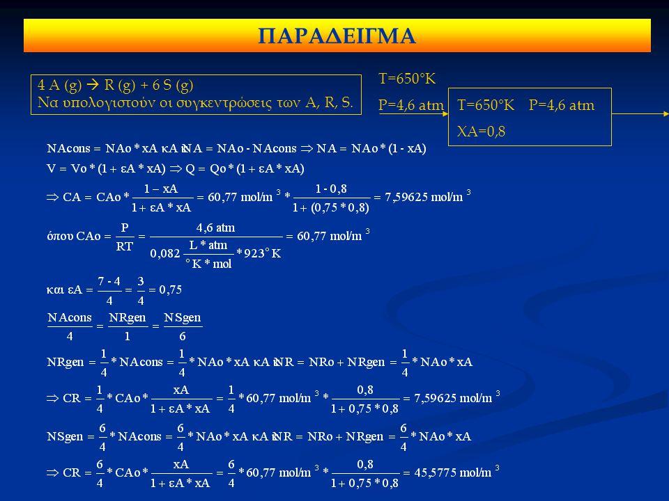 4 A (g)  R (g) + 6 S (g) Να υπολογιστούν οι συγκεντρώσεις των A, R, S. T=650°K P=4,6 atm T=650°K P=4,6 atm XA=0,8 ΠΑΡΑΔΕΙΓΜΑ