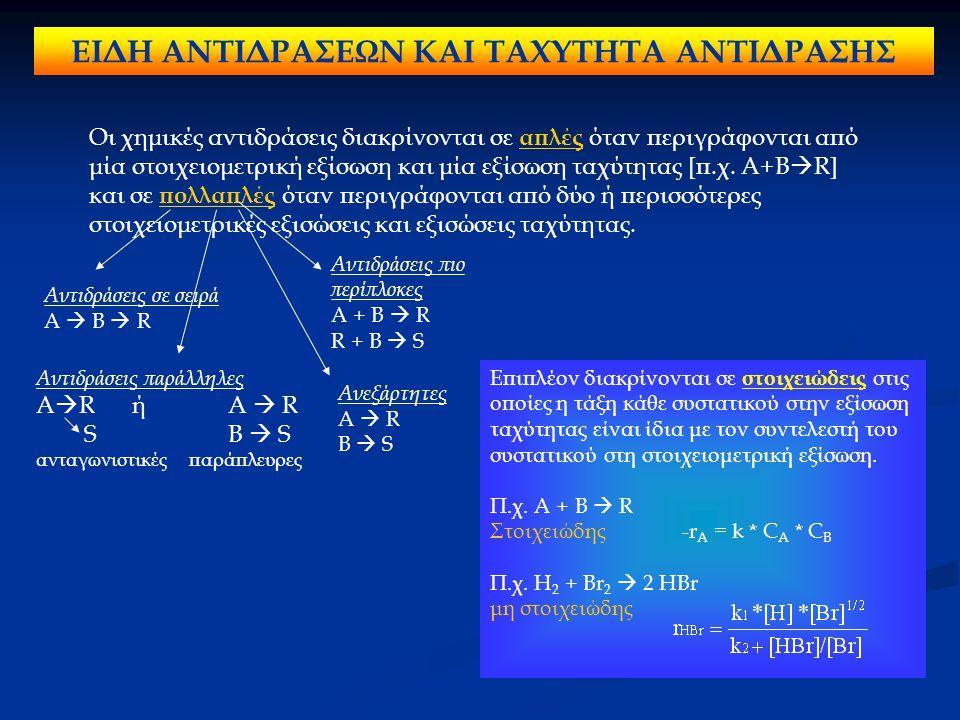ΕΙΔΗ ΑΝΤΙΔΡΑΣΕΩΝ ΚΑΙ ΤΑΧΥΤΗΤΑ ΑΝΤΙΔΡΑΣΗΣ Οι χημικές αντιδράσεις διακρίνονται σε απλές όταν περιγράφονται από μία στοιχειομετρική εξίσωση και μία εξίσω