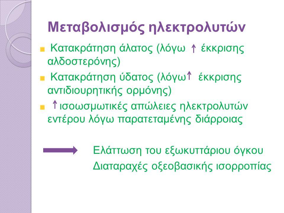 Μεταβολισμός ηλεκτρολυτών Κατακράτηση άλατος (λόγω έκκρισης αλδοστερόνης) Κατακράτηση ύδατος (λόγω έκκρισης αντιδιουρητικής ορμόνης) ισοωσμωτικές απώλειες ηλεκτρολυτών εντέρου λόγω παρατεταμένης διάρροιας Ελάττωση του εξωκυττάριου όγκου Διαταραχές οξεοβασικής ισορροπίας