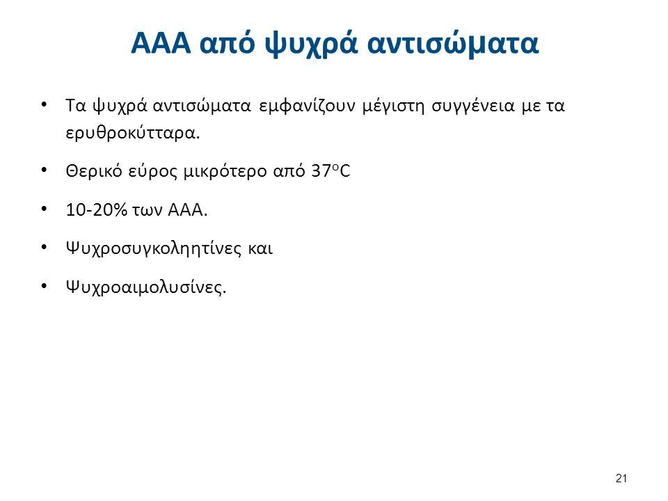 ΑΑΑ από ψυχρά αντισώ μ ατα Τα ψυχρά αντισώματα εμφανίζουν μέγιστη συγγένεια με τα ερυθροκύτταρα. Θερικό εύρος μικρότερο από 37 ο C 10-20% των AAA. Ψυχ