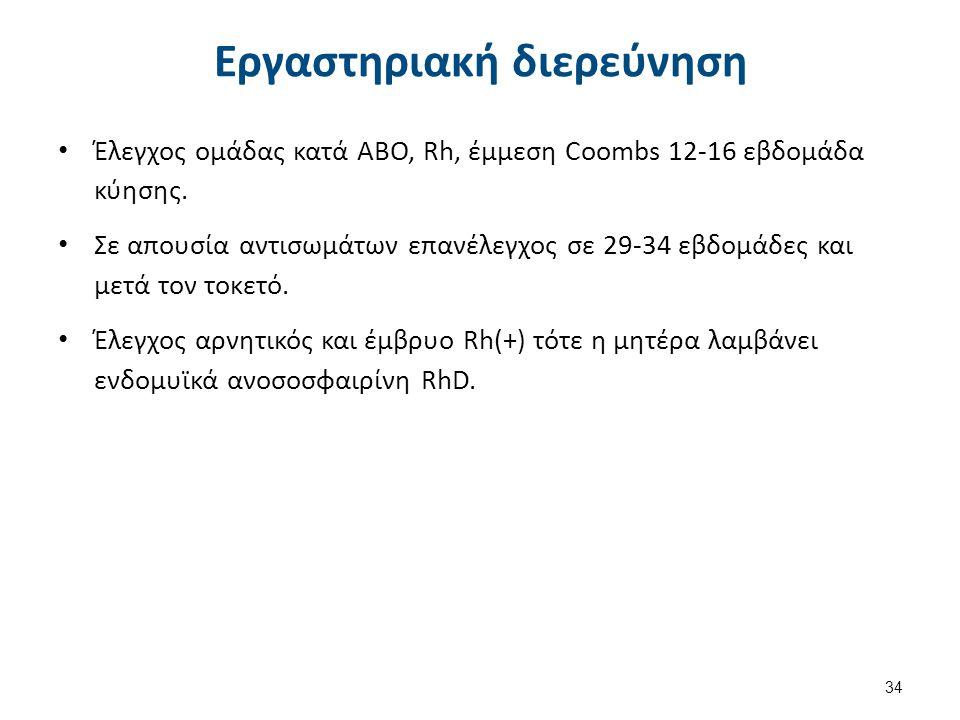 Εργαστηριακή διερεύνηση 34 Έλεγχος ομάδας κατά ΑΒΟ, Rh, έμμεση Coοmbs 12-16 εβδομάδα κύησης. Σε απουσία αντισωμάτων επανέλεγχος σε 29-34 εβδομάδες και