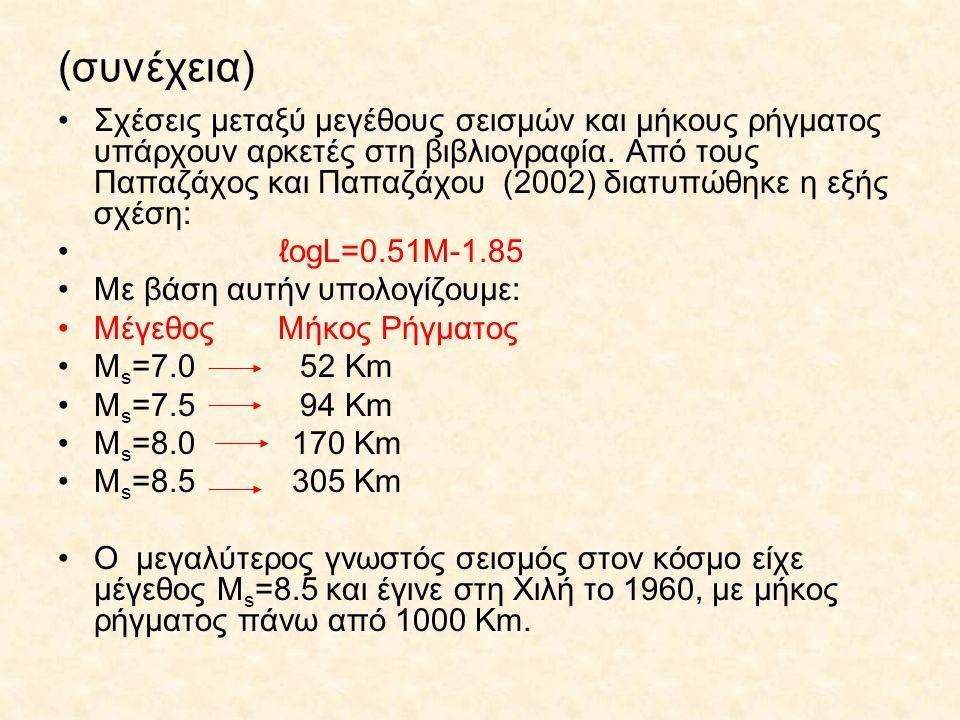 (συνέχεια) Σχέσεις μεταξύ μεγέθους σεισμών και μήκους ρήγματος υπάρχουν αρκετές στη βιβλιογραφία. Από τους Παπαζάχος και Παπαζάχου (2002) διατυπώθηκε