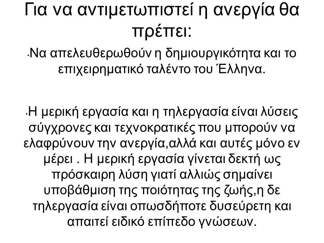 Για να αντιμετωπιστεί η ανεργία θα πρέπει: Να απελευθερωθούν η δημιουργικότητα και το επιχειρηματικό ταλέντο του Έλληνα. Η μερική εργασία και η τηλεργ