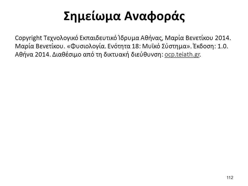 Σημείωμα Αναφοράς Copyright Τεχνολογικό Εκπαιδευτικό Ίδρυμα Αθήνας, Μαρία Βενετίκου 2014. Μαρία Βενετίκου. «Φυσιολογία. Ενότητα 18: Μυϊκό Σύστημα». Έκ